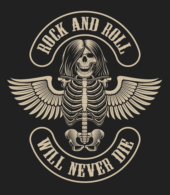Illustration with a skeleton character with wings in vintage style on a dark background on the theme of rock music. Premium Vector