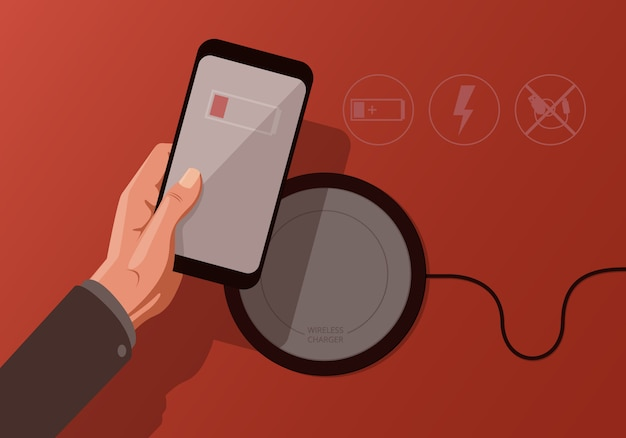 Premium Vector | Illustration with smartphone and wireless charger on red  background