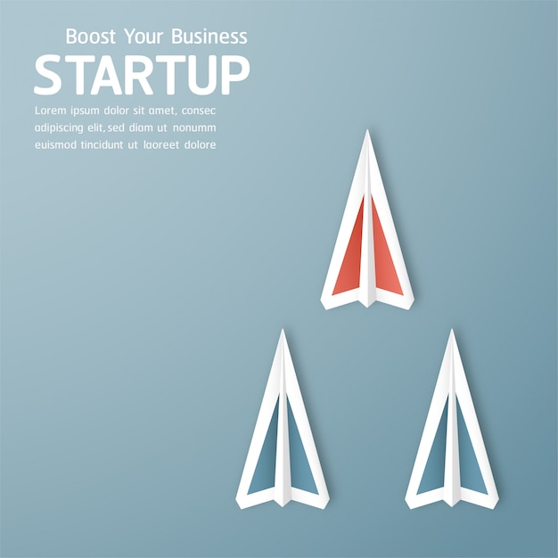 Illustration with start up concept in paper cut, craft and origami style. rocket is flying on blue sky. Premium Vector