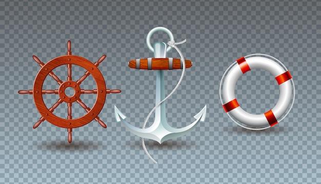 Иллюстрация с коллекцией рулевого колеса, якоря и спасательного пояса Бесплатные векторы