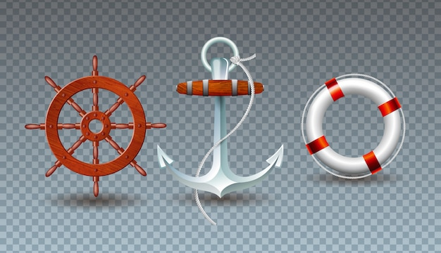 Illustration with steering wheel, anchor and lifebelt collection Free Vector