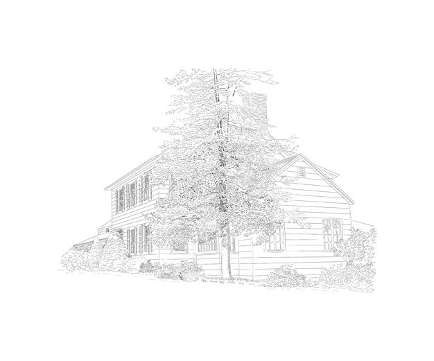 スタイルマンション、その前に大きな木、カントリーエステートのイラスト。歴史的建造物 Premiumベクター