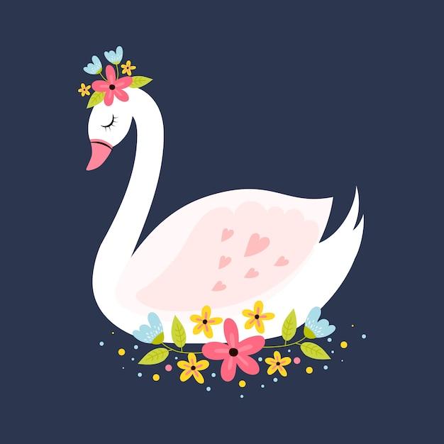 Illustrazione con il concetto di principessa del cigno Vettore gratuito