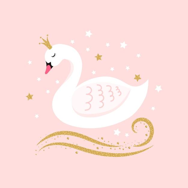 Иллюстрация с принцессой лебедя Premium векторы