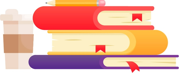 Illustration with three books of different colors. coffee and polaroid shots. Free Vector