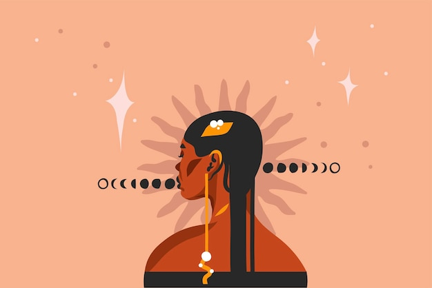Illustration with tribal black beautiful Premium Vector
