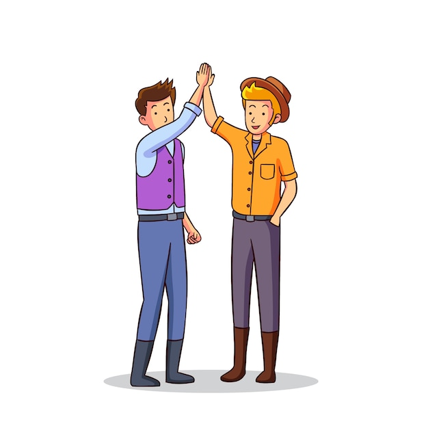 Illustration with two men giving high five Free Vector