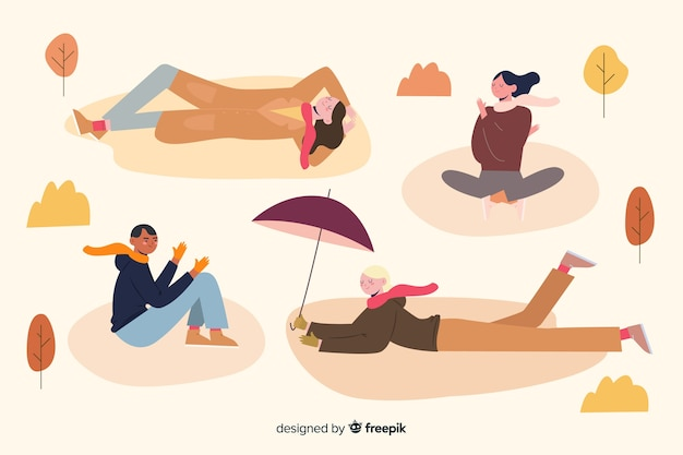Illustration with various activities in park Free Vector