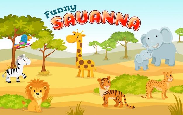 Illustration with wild animals of savanna and desert. Premium Vector