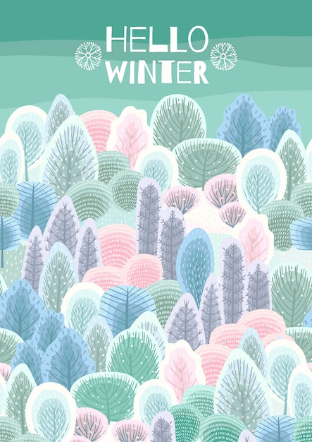 Illustration with winter forest. Premium Vector