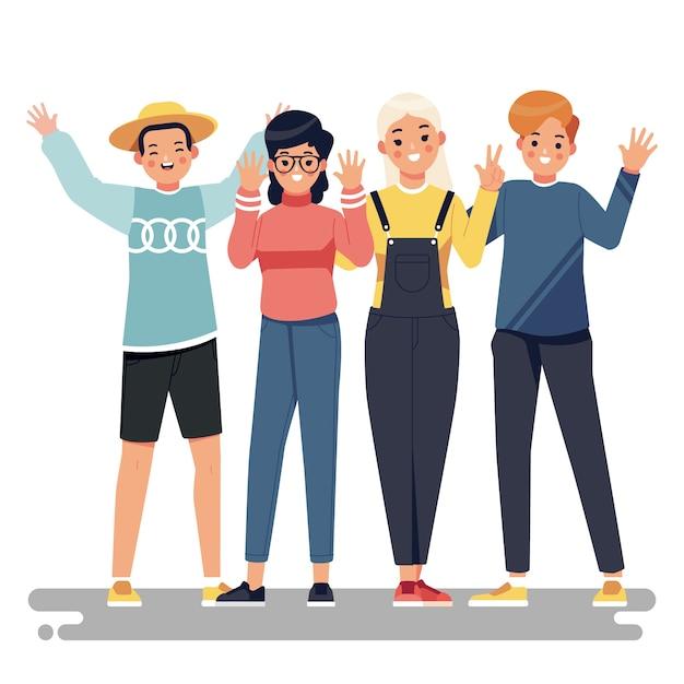 Иллюстрация с концепцией молодых людей Бесплатные векторы