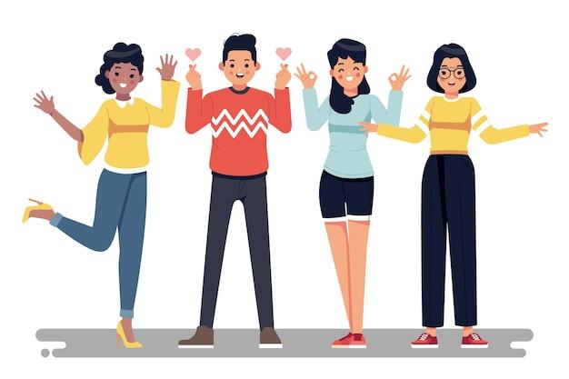 Иллюстрация с дизайном молодых людей Premium векторы