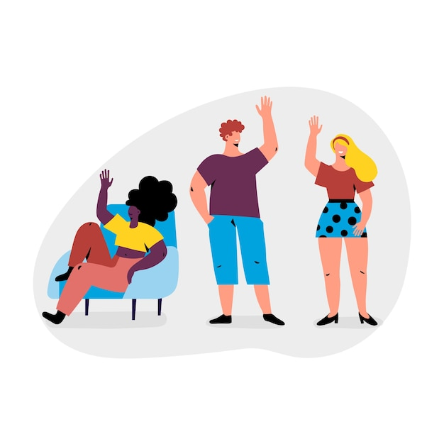 Illustration with young people waving Free Vector