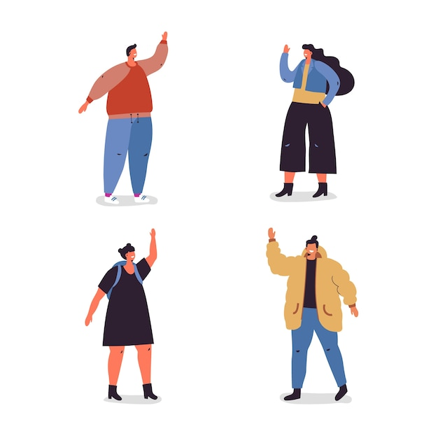 Illustration with youths group waving Free Vector