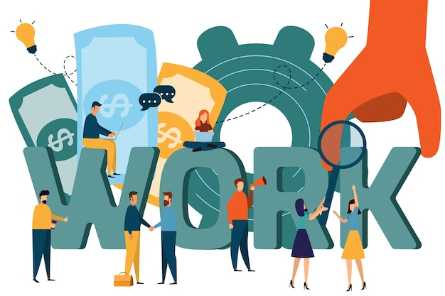 Illustration of woking, job search, recruitment, workgroup, freelance, web graphic design, Premium Vector