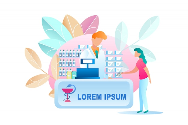 Illustration woman buying medicine at pharmacy Premium Vector