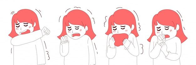 Illustration woman cough collection Premium Vector