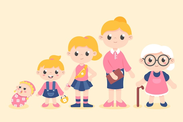Illustration of woman in different ages Free Vector