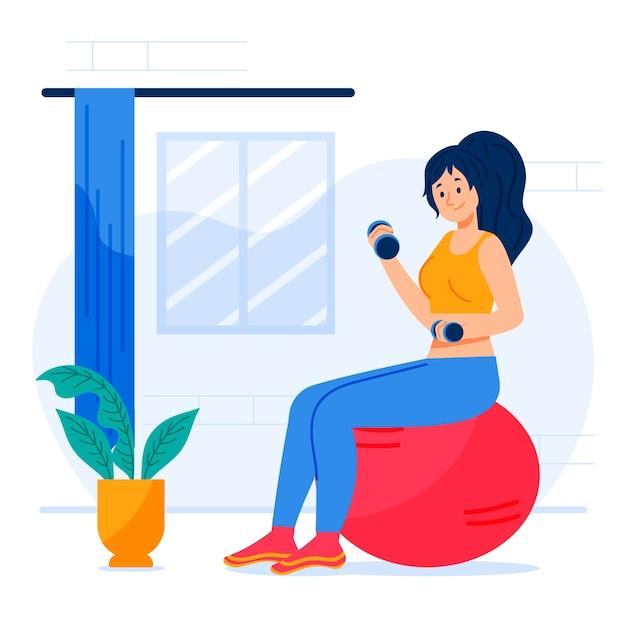 Kadınlar İçin Protein Tozu Önerileri yazısı içerisinde kullanılan evde spor yapan görselidir.
