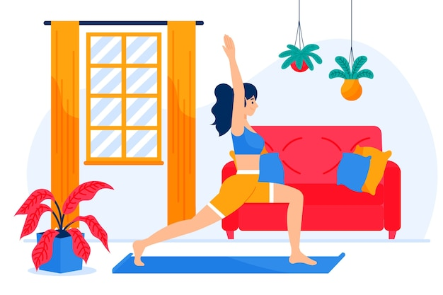Illustration of woman exercising at home alone Free Vector
