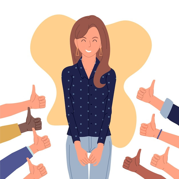 Illustration of woman getting public approval Free Vector