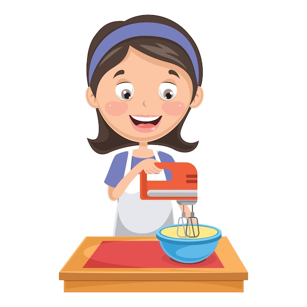 Illustration of woman mixing Premium Vector