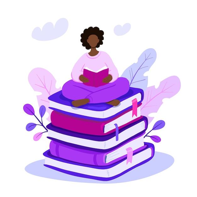 巨大な本の山の上に座って読んでイラスト女性。 Premiumベクター