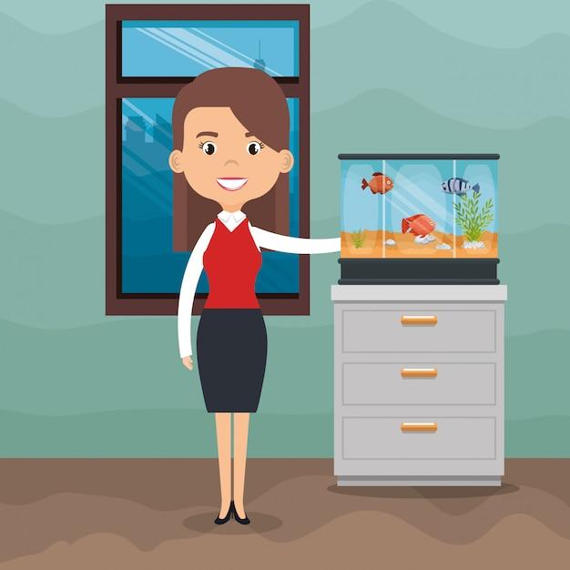Illustration of woman with fish in aquarium Free Vector