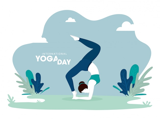 Illustration of woman in yoga pose on abstract green background Premium Vector
