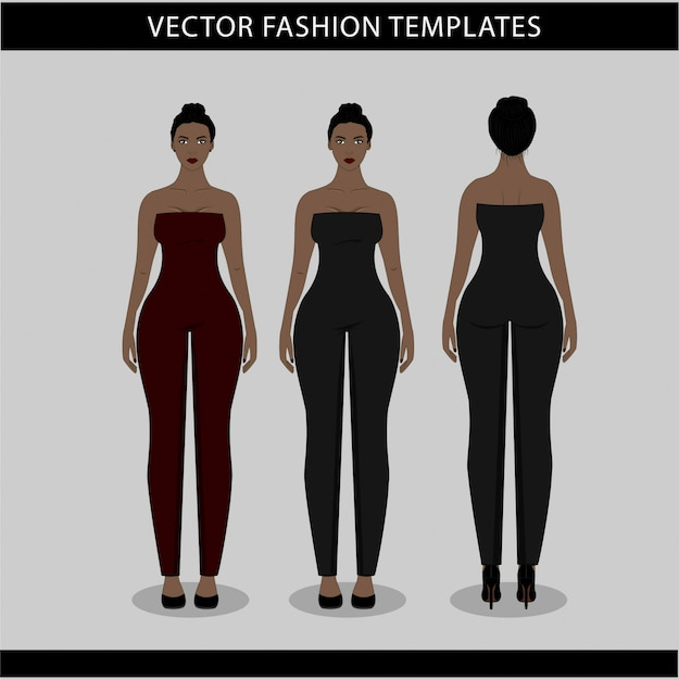 Illustration Of Women In Jumpsuit Front And Back Fashion Flat Sketch Template Premium Vector