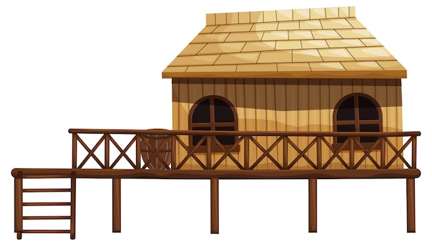 Illustration of wooden hut with ladder Free Vector