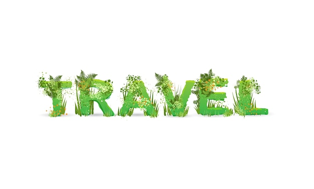 Illustration of word travel with capital letters stylized as a rainforest, with green branches, leaves, grass and bushes next to them, isolated Premium Vector