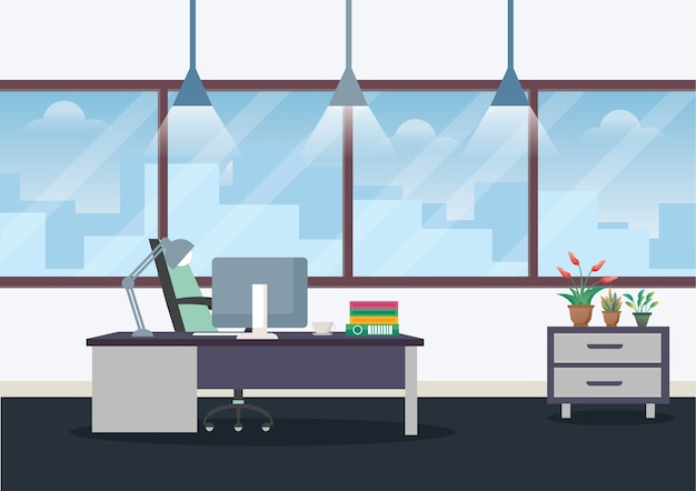 Illustration workplace in office Premium Vector