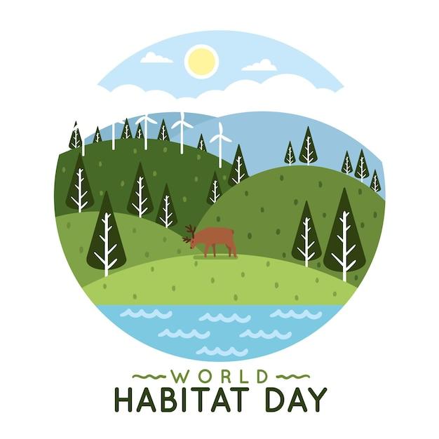 Illustrazione per la giornata mondiale dell'habitat in design piatto Vettore gratuito