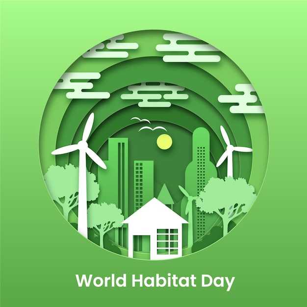 Illustrazione per la giornata mondiale dell'habitat in stile carta Vettore gratuito