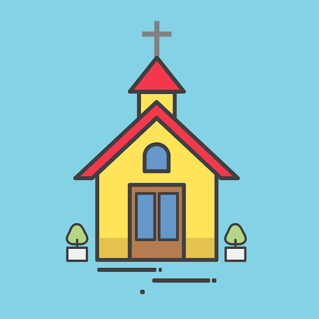 Illustration of a yellow church Free Vector