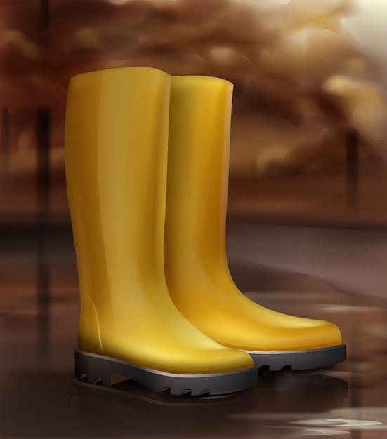 Illustrazione di stivali di gomma gialli Vettore gratuito