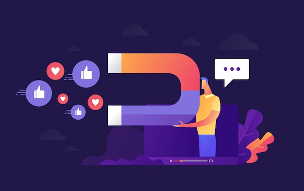 Illustration  of young businessman who is holding magnet to call to action from audience or customer as influence marketing or advertising, Premium Vector