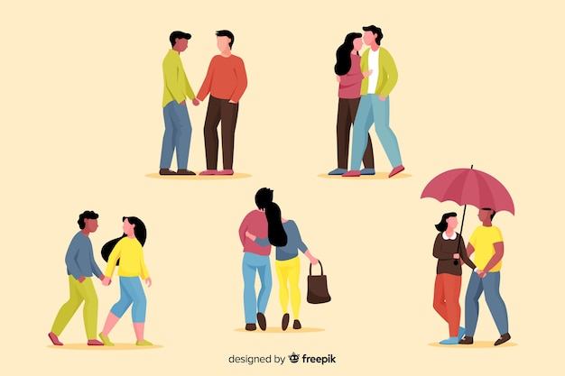 Illustration of young couples walking collection Free Vector