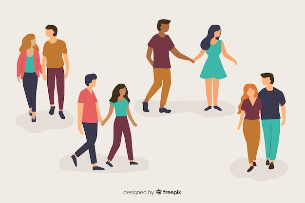 Illustration of young couples walking Free Vector