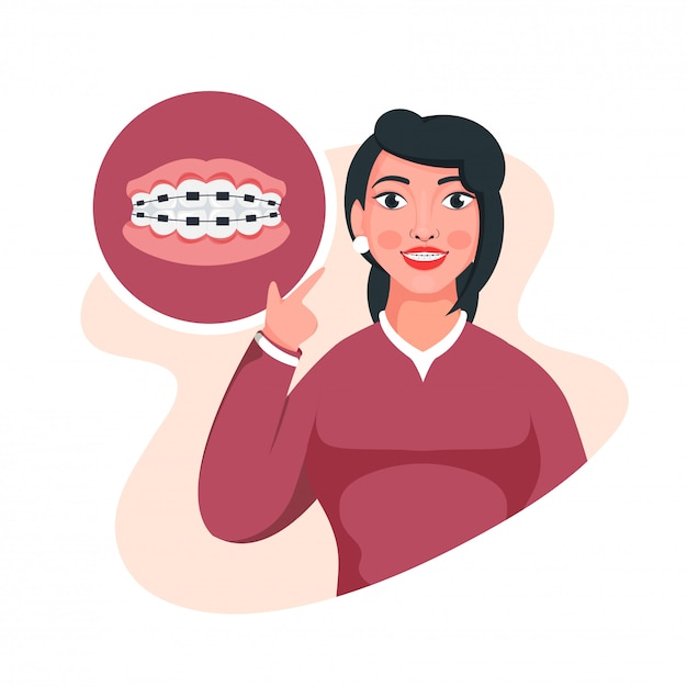Illustration of young girl showing her braces at teeth on white background. Premium Vector