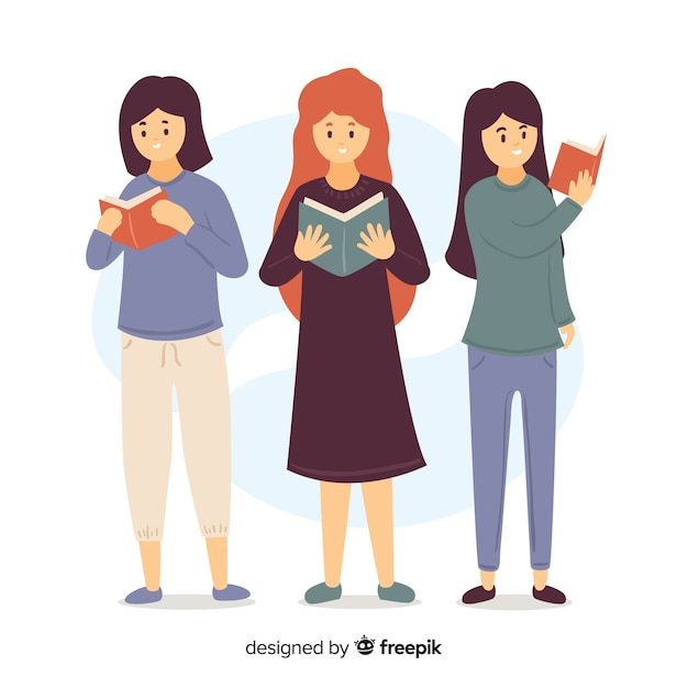 Illustration of young girls reading their books Free Vector