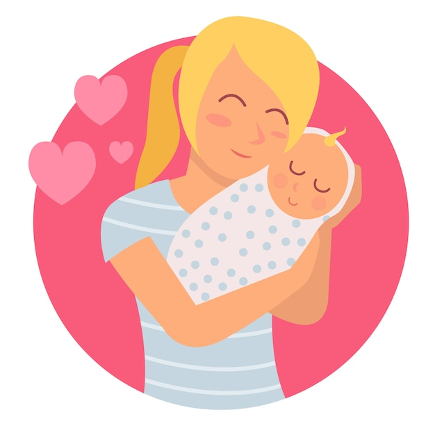 Illustration of a young mother and her newborn baby Premium Vector