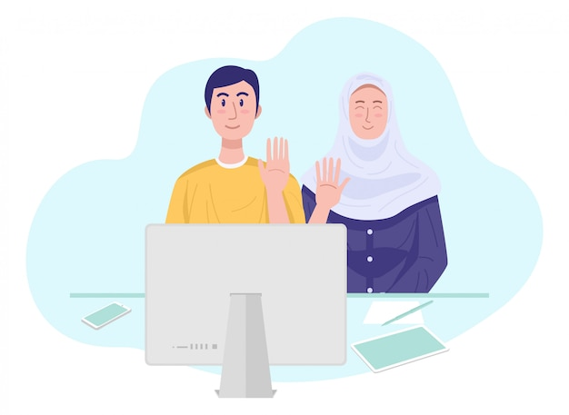 Illustration of a young muslim couple having video chat with friends. vector Premium Vector