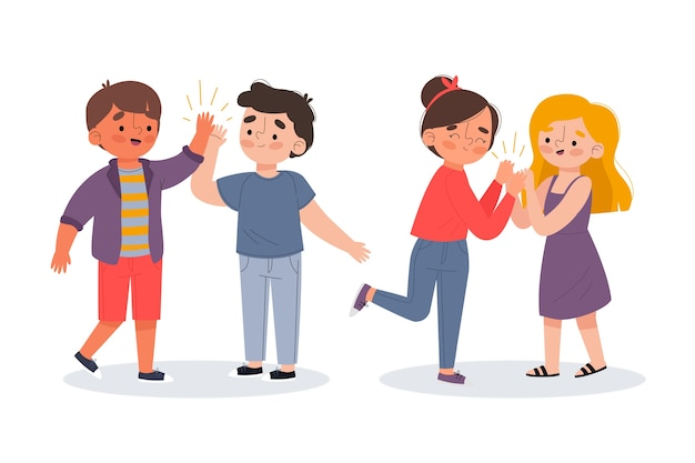 Illustration of young people giving high five pack Free Vector