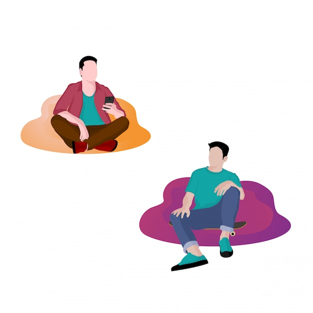 Illustration of young people relaxing Premium Vector