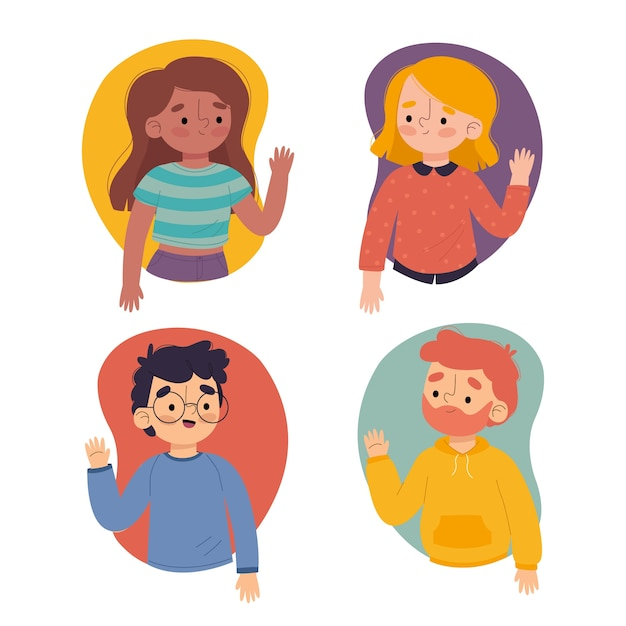 Illustration of young people waving hand collection Free Vector