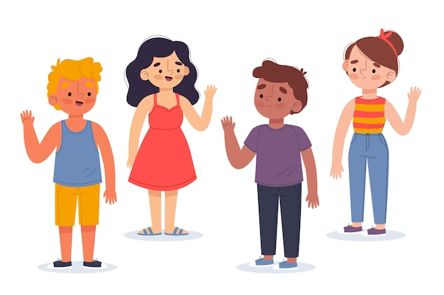 Illustration of young people waving hand pack Free Vector