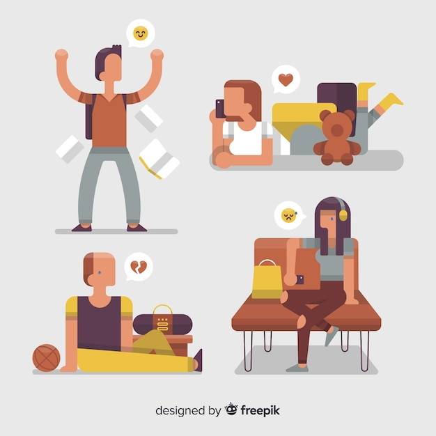 Illustration of young people with different emotions Free Vector