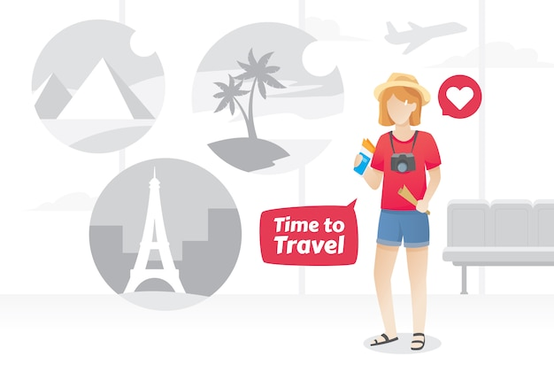 Illustration of young woman at the airport Premium Vector